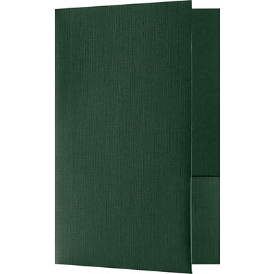 LUX Small Presentation Folders - Two Pockets 250/Pack, Green Linen (MF144DDP100250)