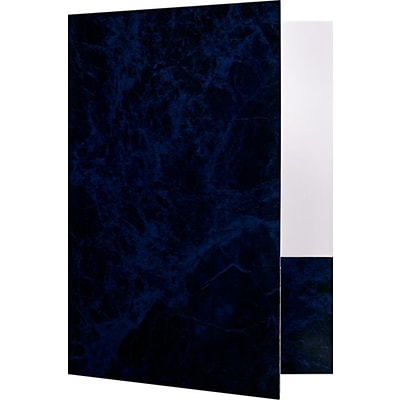 LUX 9 x 12 Presentation Folders - Standard Two Pocket 50/Pack, Blue Marblecoat (SF101CMBLU1250)