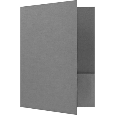 LUX 9 x 12 Presentation Folders - Standard Two Pocket 50/Pack, Sterling Gray Linen (SF101CSG10050)