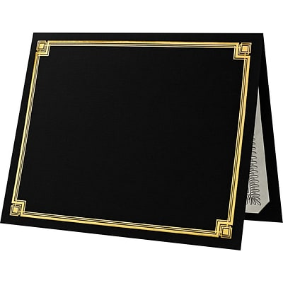 LUX Certificate Holders 500/Pack, Black with Gold Foil (85DDBLK100F500)