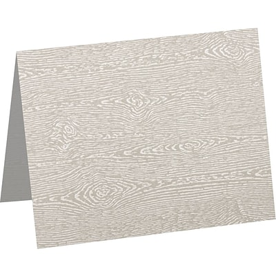 LUX A9 Folded Card (5 1/2 x 8 1/2) 50/Pack, Brasilia Gray Woodgrain (5060-C-S05-50)