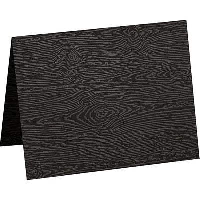 LUX A1 Folded Card (3 1/2 x 4 7/8) 50/Pack, Brasilia Black Woodgrain (5010-C-S04-50)
