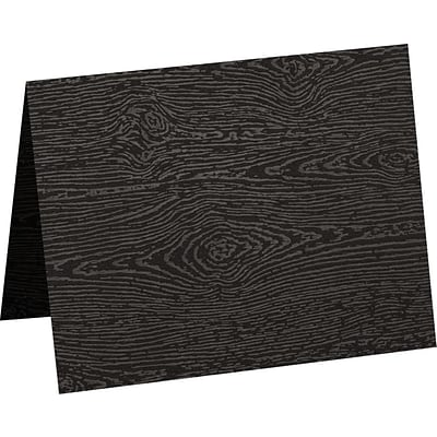 LUX A2 Folded Card (4 1/4 x 5 1/2) 250/Pack, Brasilia Black Woodgrain (5020-C-S04-250)