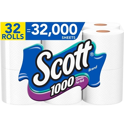 Scott 1-Ply Standard Toilet Paper, White, 1000 Sheets/Roll, 32 Rolls/Case (49209)