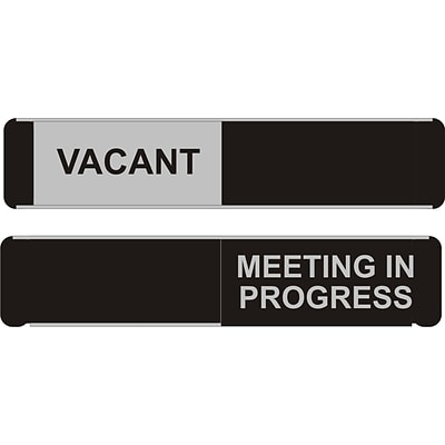 SECO Sliding Sign Meeting in Progress 10W x 2H Aluminum, Black and White (OF139-255X52)