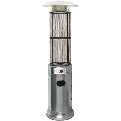 Hanover 6 Ft. 34,000 BTU Cylinder Patio Heater with Glass Flame Display in Stainless Steel (HAN030SSCL)
