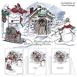 Art Impressions Tryfolds Cling Rubber Stamps 10X4.5-Christmas Scene