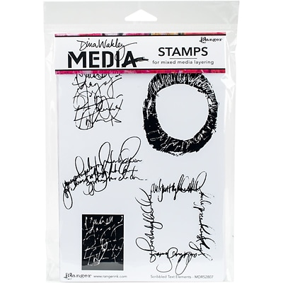 Dina Wakley Media Cling Stamps 6X9-Scribbled Text Elements