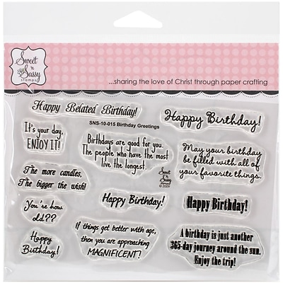 Sweet n Sassy Stamps Birthday Greetings Sweet n Sassy Clear Stamps, 4X6 (SNS10015)