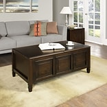 Simpli Home Connaught Coffee Table with Trays in Dark Chestnut Brown (3AXCCON-01)