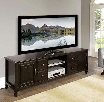 "Simpli Home Connaught 72"" Wide Tv Stand In Dark Chestnut Brown (3axccon 07)"