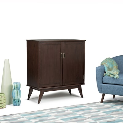 Simpli Home Draper Mid Century Medium Storage Cabinet in Medium Auburn Brown (3AXCDRP-06)
