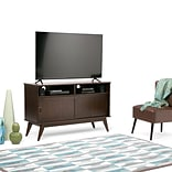 Simpli Home Draper Mid Century Tall TV Media Stand in Medium Auburn Brown (3AXCDRP-09)