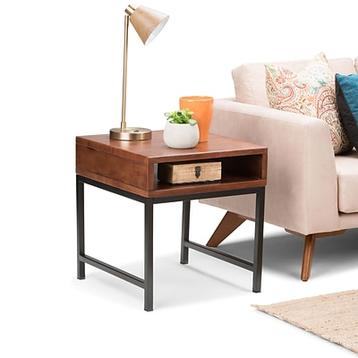 Simpli Home Riordan End Side Table in Russet Brown (3AXCRDN-02)