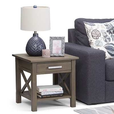 Simpli Home Kitchener End Side Table in Farmhouse Grey (3AXCRGL002-FG)