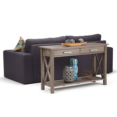 Simpli Home Kitchener Console Sofa Table in Distressed Grey (3AXCRGL003-GR)