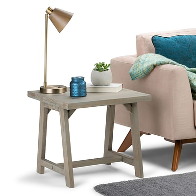 Simpli Home Sawhorse End Side Table in Distressed Grey (3AXCSAW-02-GR)