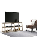 Simpli Home Sawhorse Wide TV Media Stand in Distressed Grey (3AXCSAW-04W-GR)