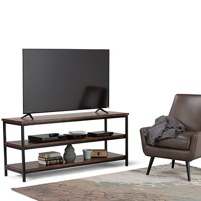 Simpli Home Skyler TV Media Stand in Dark Cognac Brown (3AXCSKY-07)