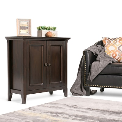 Simpli Home Amherst Low Storage Cabinet in Dark Brown (AXCAMH-004)