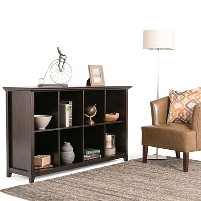 Simpli Home Amherst 8 Cube Storage / Sofa Table in Dark Brown (AXCAMH-005)