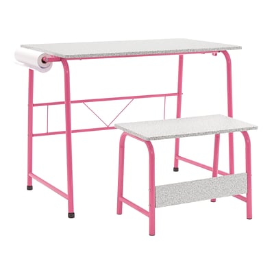 Studio Designs 35.5W Project Center Corner Table, Pink Frame and Spatter Gray Top (55125)