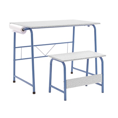 Studio Designs 35.5W Project Center Corner Table Blue Frame and Spatter Gray Top (55126)