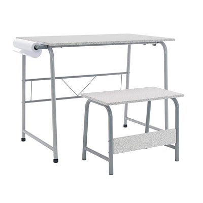 Studio Designs 35.5W Project Center Corner Table Gray Frame and Spatter Gray Top (55128)