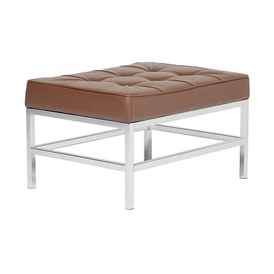 Studio Designs Home Ashlar Bonded Leather Square Ottoman Brown (72003)