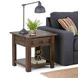 Simpli Home Monroe End Side Table in Distressed Charcoal Brown (AXCMON-03)