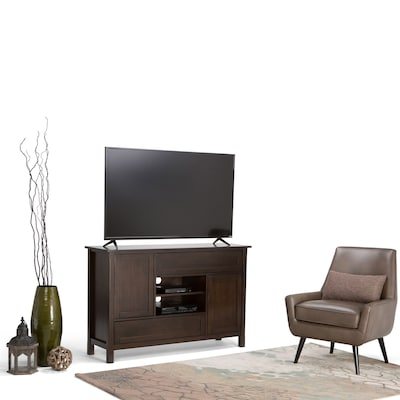 "Simpli Home Sidney 54"" Tall Tv Stand In Dark Chestnut Brown (axcsdy 01)"