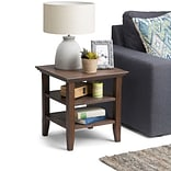 Simpli Home Acadian End Side Table in Farmhouse Brown (AXWELL3-003-FB)