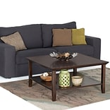 Simpli Home Acadian Square Coffee Table in Tobacco Brown (AXWELL3-007)