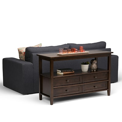 Simpli Home Warm Shaker Console Sofa Table in Tobacco Brown (AXWSH007-TB)