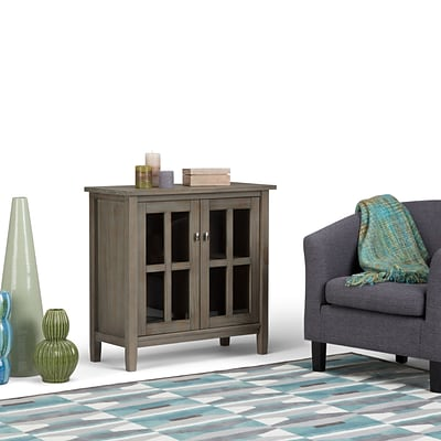 Simpli Home Warm Shaker Low Storage Cabinet in Distressed Grey (AXWSH009-GR)
