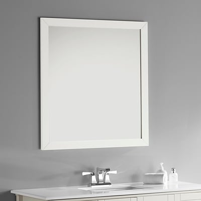 Simpli Home Chelsea 32 x 34 Large Bath Vanity Décor Mirror in Soft White (NL-ROSSEAU-M-3A-3234)