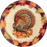 Creative Converting Turkey Traditions Thanksgiving Dessert Plates, 7 diameter, 8 pack (324017)