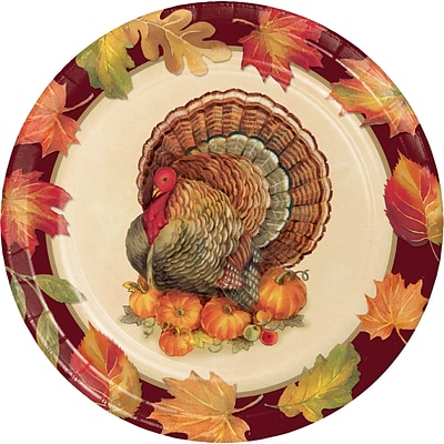 Creative Converting Turkey Traditions Thanksgiving Paper Plates, 9 diameter, 8 pack (324018)