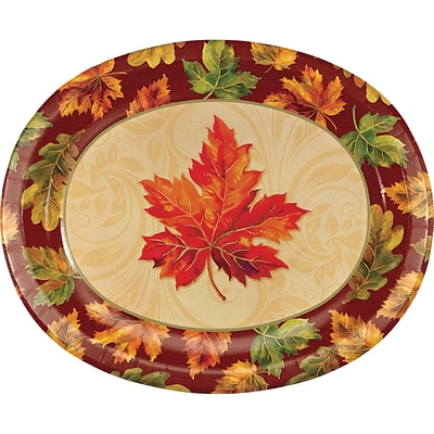 Creative Converting Fall Flourish Oval Plates, 10 x 12, 8 pack (324037)