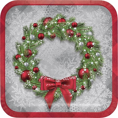 Creative Converting Christmas Wreath Paper Plates, 9 diameter, 8 pack (324148)