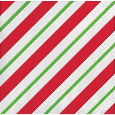 Creative Converting Peppermint Party Beverage Napkins, 5 x 5, 16 pack (324152)