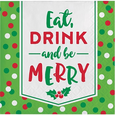 Creative Converting Eat, Drink and be Merry Holiday Beverage Napkins, 5 x 5, 16 pack (324158)