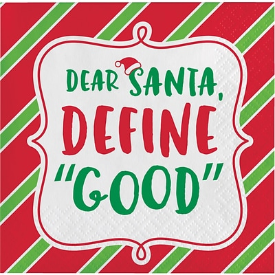 Creative Converting Dear Santa, Define Good Holiday Beverage Napkins, 5 x 5, 16 pack (324160)