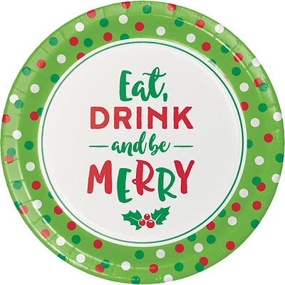 Creative Converting Eat, Drink and be Merry Holiday Dessert Plates, 7 diameter, 8 pack (324163)
