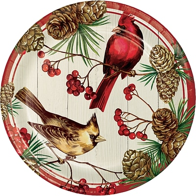 Creative Converting Winter Cardinal Banquet Plates, 10 diameter, 8 pack (324178)