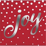 Creative Converting Foil Stamped Holiday Joy Red Beverage Napkins, 5 x 5, 16 pack (324182)