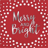 Creative Converting Foil Stamped Holiday Merry and Bright Red Beverage Napkins, 5 x 5, 16 pack (32
