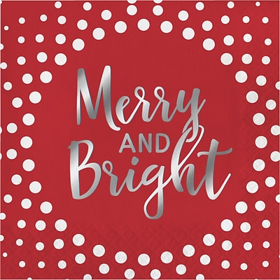 Creative Converting Foil Stamped Holiday Merry and Bright Red Beverage Napkins, 5 x 5, 16 pack (324184)