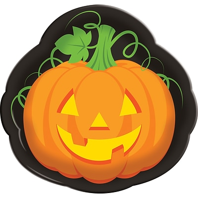 Creative Converting Halloween Pumpkin Serving Tray, 14 diameter (324370)