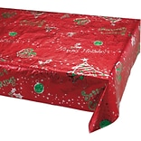 Creative Converting Metallic Printed Christmas Plastic Tablecloth, 54 x 108 (39132)